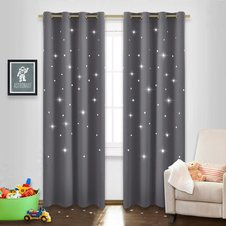 Black Stars Inspiration Curtain from Nicetown featured featured in Busy Nest New's 11 Must Haves For an Outer Space Themed Nursery